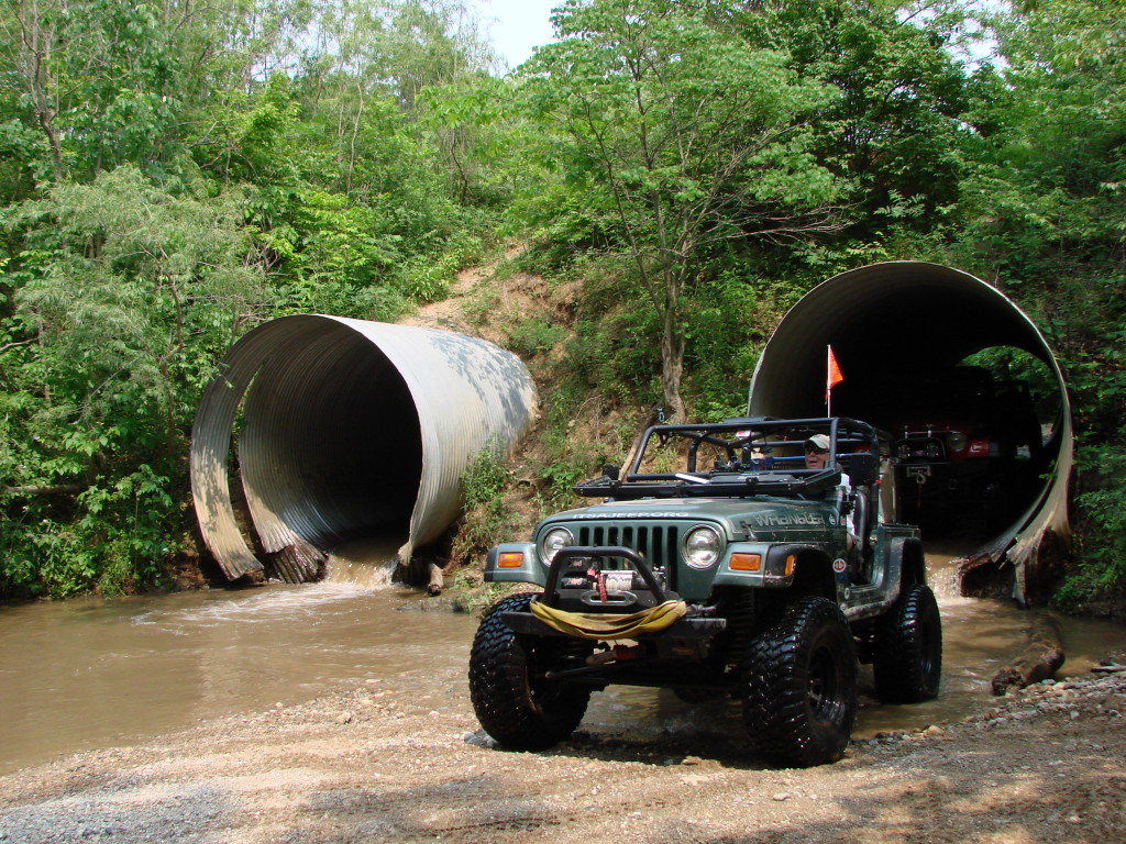 Going through tunnels at the Badlands off road park in Attics, Indiana